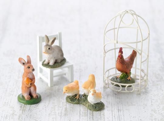 レジンオブジェ ウサギ / レジンオブジェ にわとり&ヒヨコ